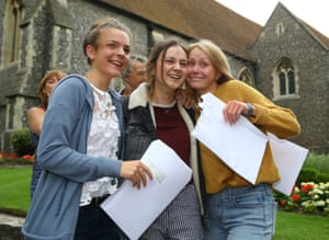 Unidentified students celebrate their A Level results at Brighton College in East Sussex