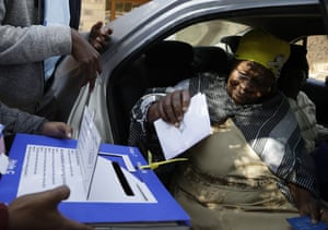 87 year-old Ntombizodwa Ntuli casts her vote in while sitting in a car in Mpumalanga