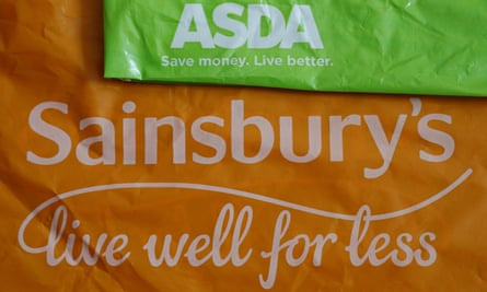 Shopping bags from Asda and Sainsbury's