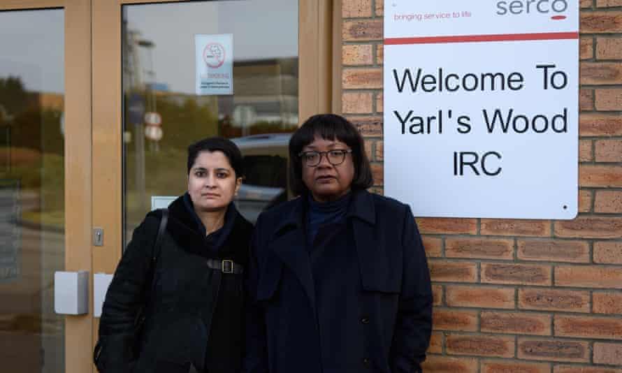 Diane Abbott, right, and Shami Chakrabarti at the Yarl's Wood centre last week.