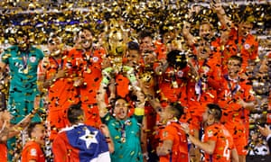 Chile's team celebrates after defeating Argentina at the Copa America tournament on 27 June 2016.