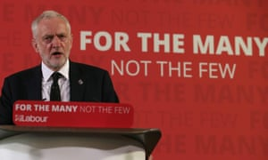 """Jeremy Corbyn wearing a """"Manchester"""" lapel pin as he makes campaign speech in London on Friday."""