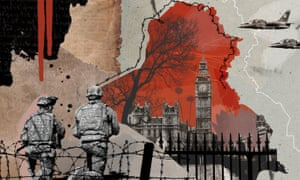 Illustration, of Westminster in Iraq-sized shell hole, by Eleanor Shakespeare