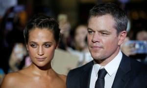 Bourne again … Matt Damon and co-star Alicia Vikander at the South Korean premiere for Jason Bourne on 8 July 2016.