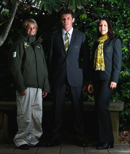 Holly Crawford, Damon Hayler and Jenny Owens pose in their Vancouver Games uniforms.