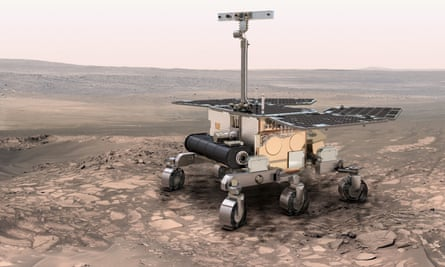 An artist's impression of the ExoMars rover on Mars.