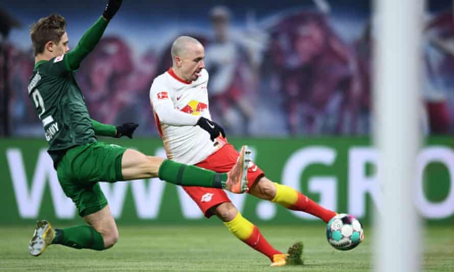 Angeliño preparing to shoot against Augsburg last month