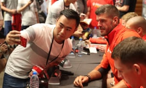 Fraser Forster poses for a photo during Southampton's recent trip to Shanghai
