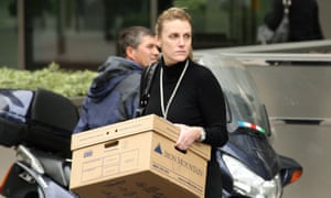 A woman leaves Lehman Brothers offices in September, 2008.