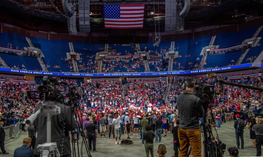 President Donald Trump speaks at the campaign rally in Tulsa