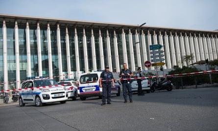 The crime scene at Saint-Charles train station.