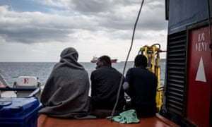 Rescued migrants on an NGO vessel in Sicily in January.