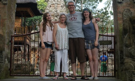 Andy Imrie, his wife, Tina, daughters Georgia, 17, and Jessica, 19, in Ubud, Bali.