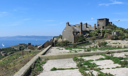 Military ruins on Inchkeith Island, Firth of Forth, Scotland.