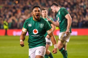 Bundee Aki celebrates a famous win for Ireland against the world champions.
