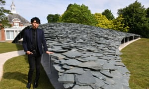 Junya Ishigami with his pavilion in front of the Serpentine Gallery.