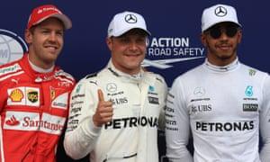 Sebastian Vettel, Valtteri Bottas and Lewis Hamilton
