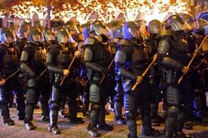 Atlanta police line up in riot gear