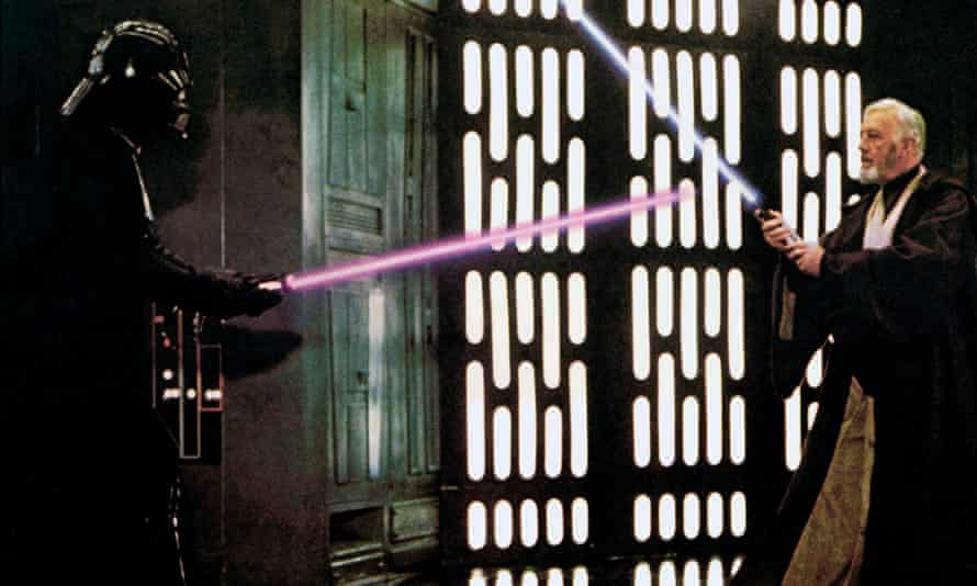 Darth Vader and Obi-Wan Kenobi duel with lightsabers in Star Wars Episode IV: A New Hope