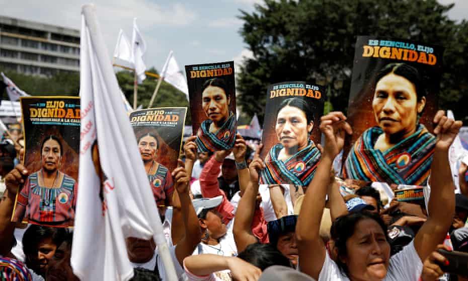 Supporters of Thelma Cabrera, presidential candidate for the Movimiento para la Liberacion de los Pueblos party, attend her rally at Plaza de la Constitución, in Guatemala City earlier this month.