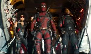 Zazie Beetz, Ryan Reynolds and Terry Crews in Deadpool 2.