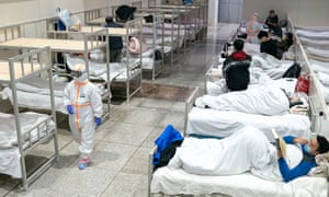 Coronavirus patients at a temporary hospital in Wuhan, China.