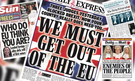 British newspaper reacting to a high court decision regarding the triggering of Article 50 which we begin the process of Britain leaving the EU.