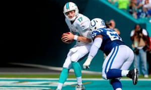 Miami Dolphins quarterback Ryan Tannehill is sacked by Indianapolis Colts defensive tackle TY McGill. The Dolphins went 6-10 this season and Joe Philbin lost his job.