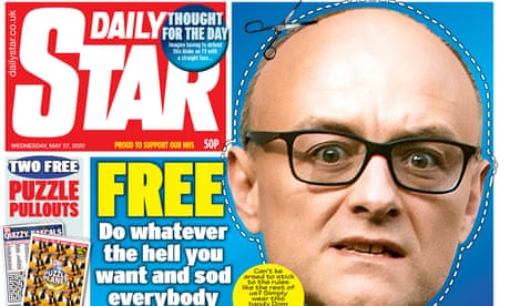 Daily Star includes Dominic Cummings 'do whatever the hell you want' mask