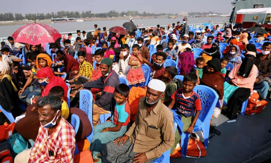 Rohingya refugees aboard bound for Bhasan Char island in early December.