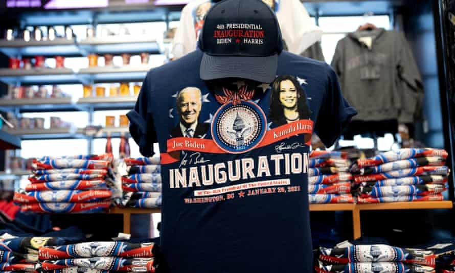 Biden-Harris inauguration merchandise is displayed in Washington DC.