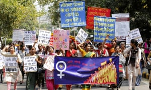 Women take part in a protest march on International Women's Day in New Delhi in March 2016