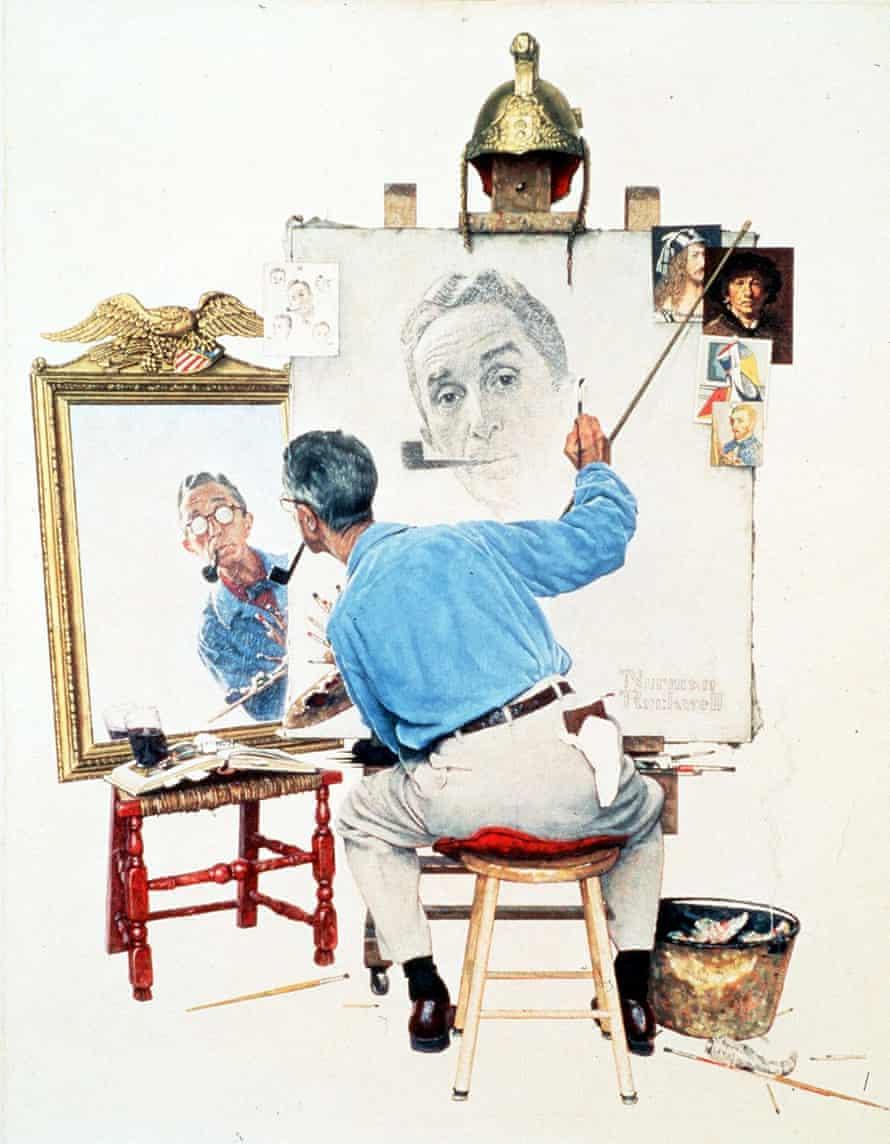 A triple self-portrait by US artist Norman Rockwell, 1960.