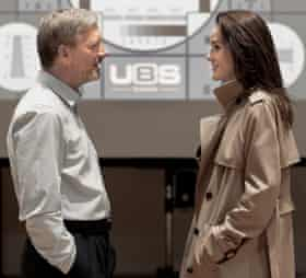 In rehearsal for Network with Douglas Henshall.