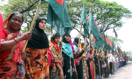 Protests against garment factory owners and their threats and intimidation of workers in Dhaka, Bangladesh.