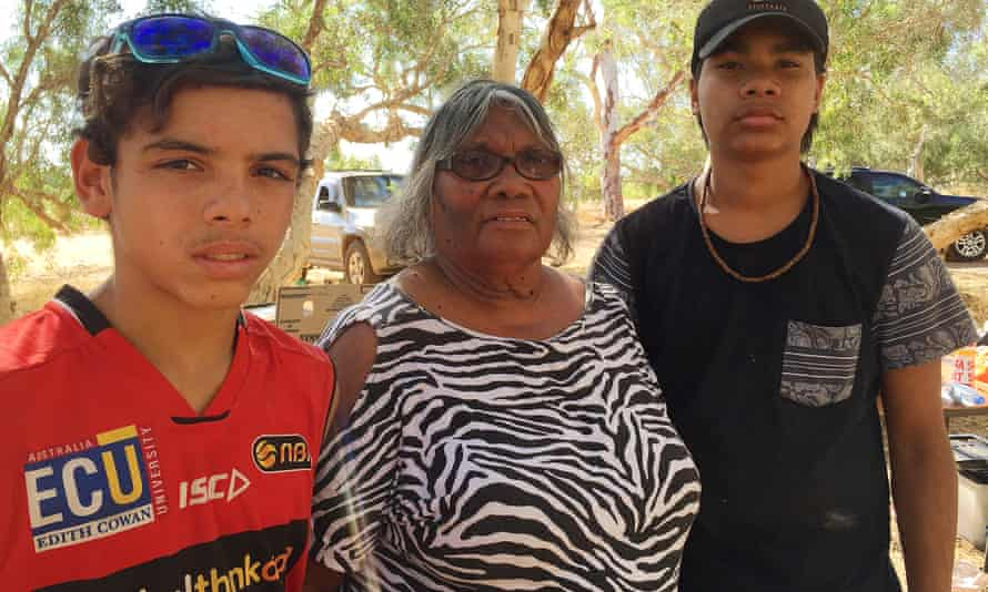 Njamal elder Mrs Doris Eaton with her 14-year-old grandsons, Xavier and William, at the Yule River meeting place in Australia