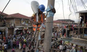 A street lamp is erected in the market area of Oshodi district, Lagos