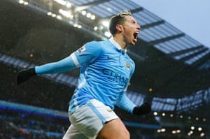 Samir Nasri celebrates Manchester City's winner against West Brom.