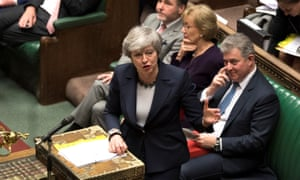 Theresa May speaks in parliament ahead of the vote on a no-deal Brexit, 13 March