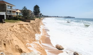 The sea approaching coastal homes at Collaroy in Sydney, Australia