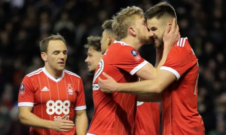 Ben Brereton of Nottingham Forest celebrates after scoring a penalty to make the score 3-1 against Arsenal.