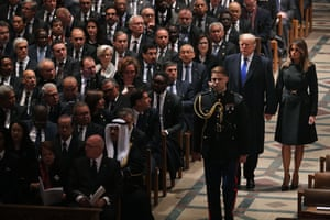 Trump and first lady Melania arrive for the state funeral for former president George HW Bush.