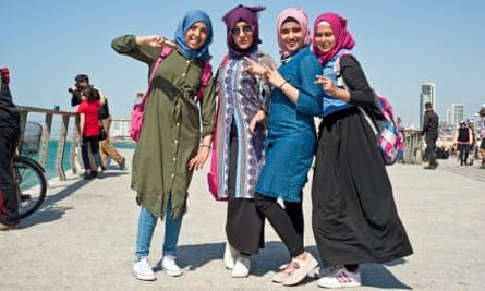 Muslim teenagers on a promenade in Tel Aviv.