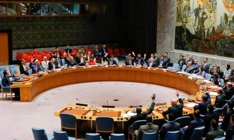 The UN security council at the United Nations headquarters in New York.