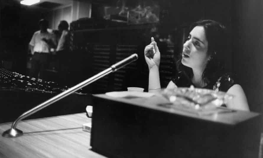 Nyro records in the studio with Stephen Sondheim in New York City, 1968.