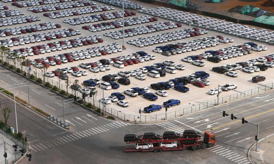 New cars at Guoyuan port in Chongqing, south-west China.