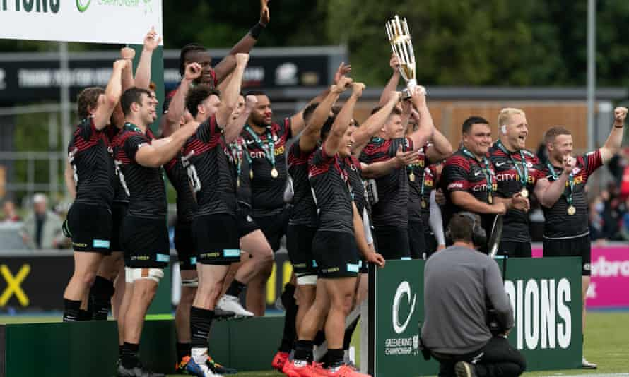 Saracens celebrate beating Ealing Trailfinders and winning promotion to the Premiership this month.