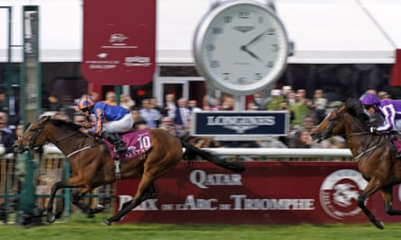Found, ridden by Ryan Moore, beats Highland Ree in the Prix de l'Arc de Triomphe at Chantilly.