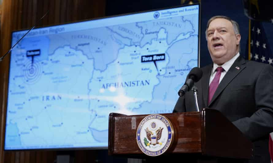 The secretary of state, Mike Pompeo, speaks at the National Press Club in Washington, on Tuesday.