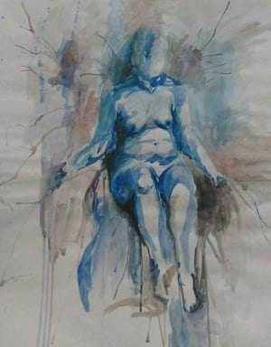 Anatomy EnthronedColor pencil and watercolor. Forming the human body and the weight of gravity with spontaneous brushstrokes and drips